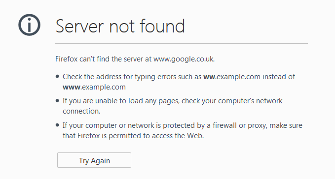 "Firefox ""Server Not Found"" error screenshot"
