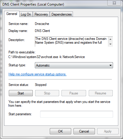 Windows DNS Client service screenshot